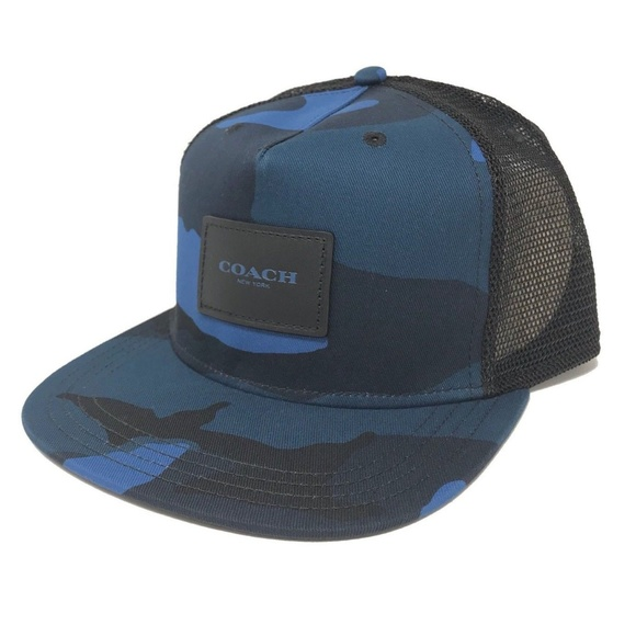 90860bd9643 Coach F26793 Men s Flat Brim Mesh Print Hat Cap